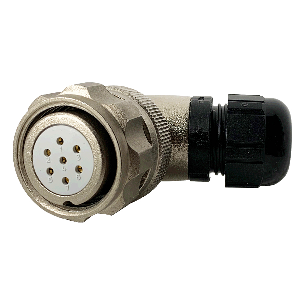 CEEP 920827E000SA00, 27E, 7 pin female right angle connector, with locking ring, solder contacts 7 x 10A, IP67, nickel conductive finish.