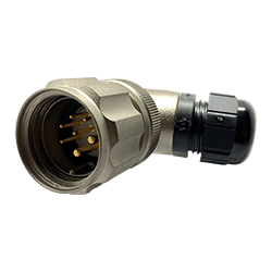 CEEP 920827X000PA00, 27X, 7 pin male right angle connector, with locking ring, solder contacts 5 x 10A and 2 x 25A, IP67, nickel conductive finish.