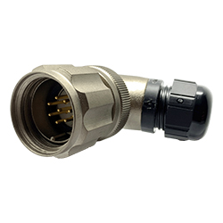CEEP 920828T000PA00, 28T, 8 pin male right angle connector, with locking ring, crimp contacts 8 x 10A, IP67, nickel conductive finish.