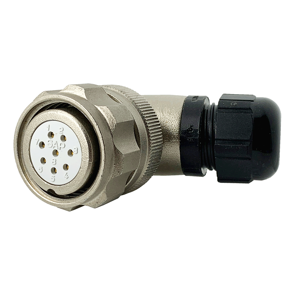 CEEP 920828T000SB00, 28T, 8 pin female right angle connector, with locking ring, crimp contacts 8 x 10A, IP67, nickel conductive finish.