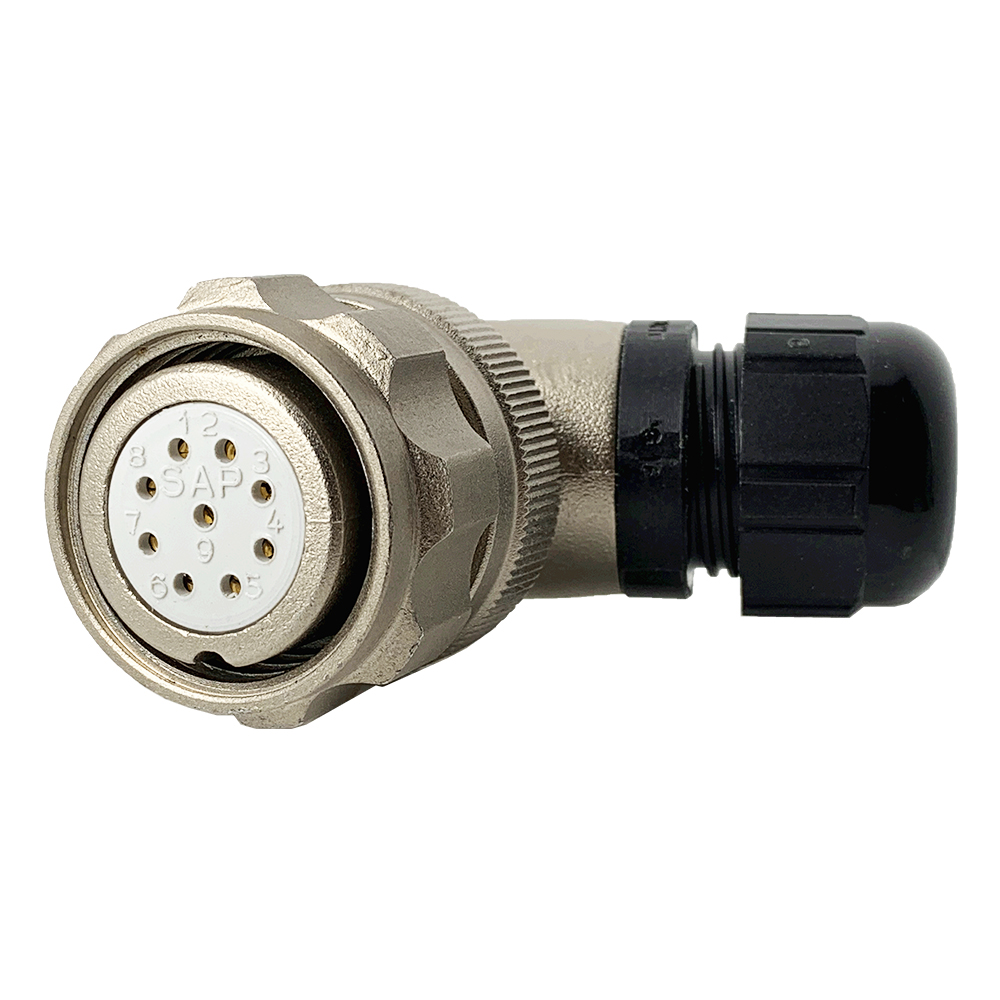 CEEP 920829AE00SA00, 29AE, 9 pin female right angle connector, with locking ring, solder contacts 9 x 10A, IP67, nickel conductive finish.