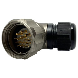 CEEP 9208315K00PD00, 315K, 15 pin male right angle connector, with locking ring, 4 x 25A & 11 x 10A Solder Contacts, IP67, nickel conductive finish.