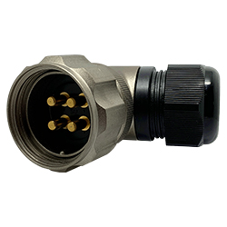 CEEP 920834H000PC0, 34H, 4 pin male right-angle connector, with locking ring, solder contacts 4 x 50A, IP67, nickel conductive finish.