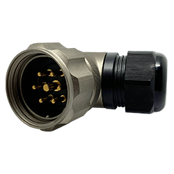CEEP 920837Y000PC00, 37Y, 7 pin male right angle connector, with locking ring, solder contacts 6 x 25A, 1 x 50A, IP67, nickel conductive finish.