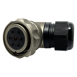 CEEP 920837Y000SC00, 37Y, 7 pin female right angle connector, with locking ring, solder contacts 6 x 25A, 1 x 50A, IP67, nickel conductive finish.