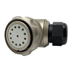 CEEP 9208413AB0SA00, 413AB, 13 pin female right angle connector, with locking ring, solder contacts 13 x 25A, IP67, nickel conductive finish.