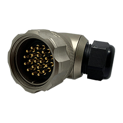 CEEP 9208419AR0PA00, 419AR, 19 pin male right angle connector, with locking ring, 19 x 25A Solder Contacts, IP67, nickel conductive finish.