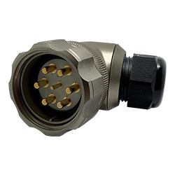CEEP 920847M000PA00, 47M, 7 pin male right angle connector, with locking ring, solder contacts 1 x 25A, 6 x 50A, IP67, nickel conductive finish.