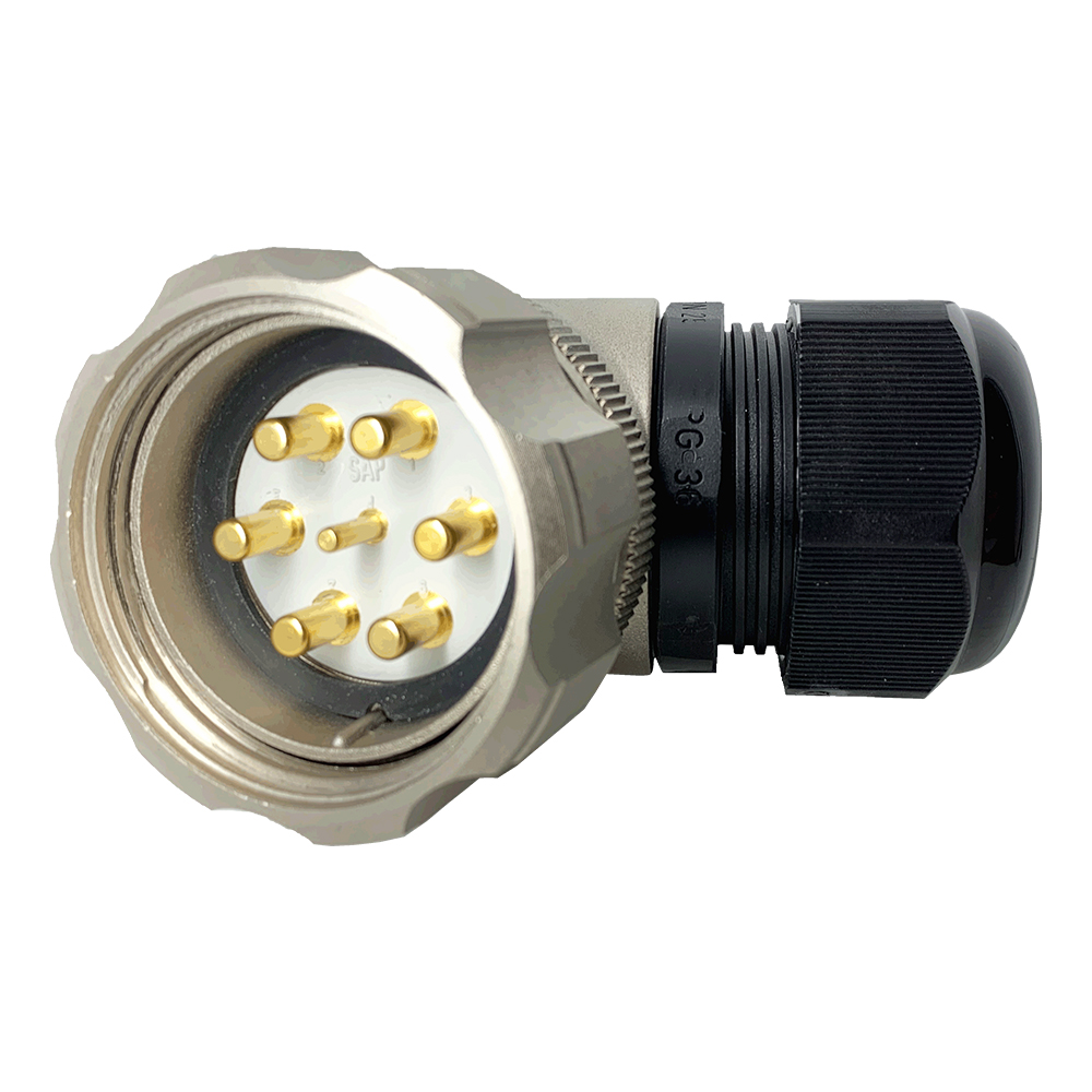CEEP 920847M000PD00, 47M, 7 pin male right angle connector, with locking ring, solder contacts 1 x 25A, 6 x 50A, IP67, nickel conductive finish.