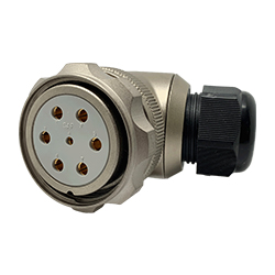 CEEP 920847M000SA00, 47M, 7 pin female right angle connector, with locking ring, solder contacts 1 x 25A, 6 x 50A, IP67, nickel conductive finish.