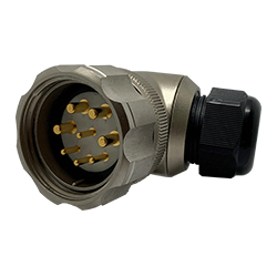 CEEP 920848M000PA00, 48M, 8 pin male right angle connector, with locking ring, solder contacts 4 x 25A, 4 x 50A, IP67, nickel conductive finish.