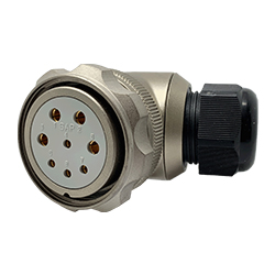 CEEP 920848M000SA00, 48M, 8 pin female right angle connector, with locking ring, solder contacts 4 x 25A, 4 x 50A, IP67, nickel conductive finish.