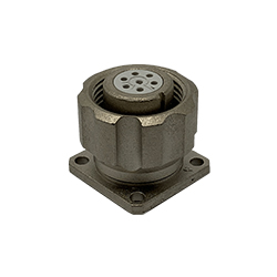 CEEP 920917P000S00, 17P, 7 pin female panel connector, with locking ring, solder contacts 7 x 7.5A, IP67, nickel conductive finish.
