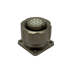 CEEP 920919CD00S000, 19CD, 9 pin female panel connector, with locking ring, crimp contacts 9 x 7.5A, IP67, nickel conductive finish.