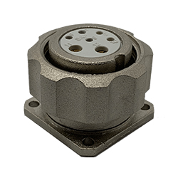 CEEP 920927X000S000, 27X, 7 pin female panel connector, with locking ring, solder contacts 5 x 10A and 2 x 25A, IP67, nickel conductive finish.