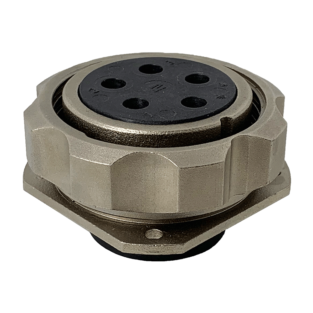 CEEP 920945CX00S00, 45CX, 5 pin female panel connector, with locking ring, crimp contacts 5 x 80A, IP67, nickel conductive finish.